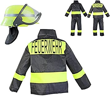 üppiges Design verrückter Preis 60% günstig Feuerwehr-Kostüm Kinder Feuerwehr-Mann Fasching Karneval Feuerwehr-Helm  Kinder-Kostüm Gr. 6 104-110 Waschbar Polyester