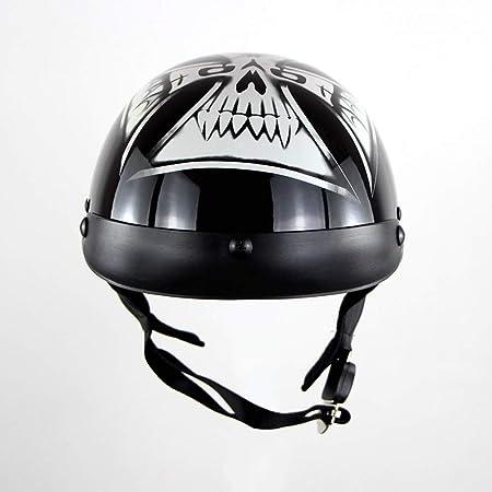 DTVX Casco da Moto Auto elettrica Harley Stile retr/ò personalit/à Mezzo Casco Outdoor Casco Estivo DOT Certificazione Occhiali Antivento distribuzione,D,M