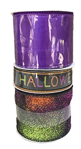 Solid Purple Sparkle Happy Halloween on Black and Sheer Multi Color Sparkle Ribbon Bundle of Three Halloween Themed (Halloween Sparkle)