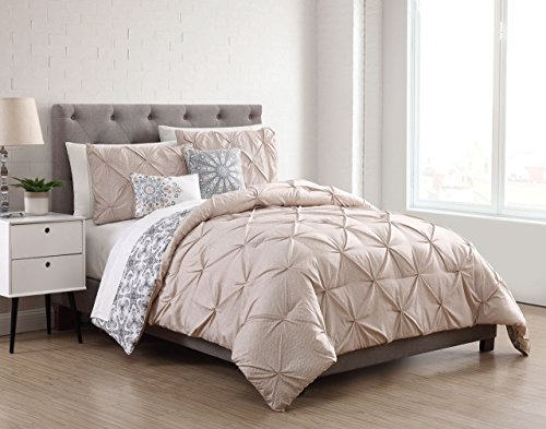 (S.L. Home Fashions 9 Piece Sherilyn Ivory/Tan Reversible w/Cotton Sheets Comforter Set Queen)