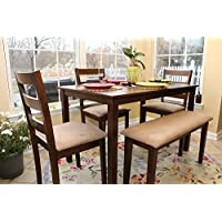 5pc Dining Dinette Table Chairs & Bench Set Walnut Finish 150237