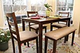 LIFE Home 5pc Dining Dinette Table Chairs & Bench Set Walnut Finish 150237