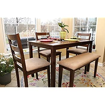 5pc Dining Dinette Table Chairs U0026 Bench Set Walnut Finish 150237