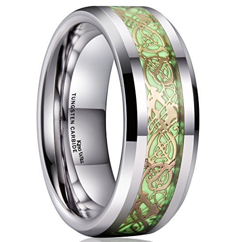King Will Aurora 8mm Gold Celtic Dragon Luminou Glow Tungsten Carbide Wedding Ring for Men Women