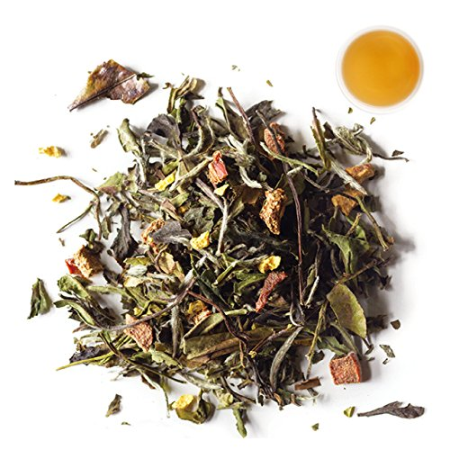 Blossom Tea Peach White (Rishi Peach Blossom Tea, Organic Loose Leaf White Tea Blend, 1 lb Bag)