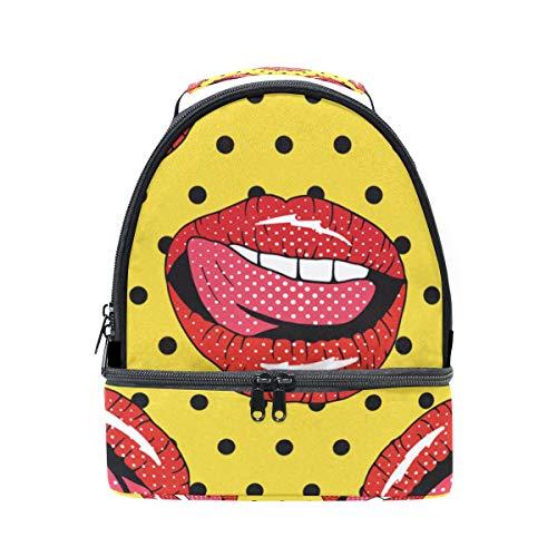 Folpply sexy Rouge à lèvres Boîte à lunch Sac isotherme Cooler Tote avec bandoulière réglable pour Pincnic à l'école