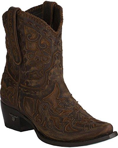 Lane Women's Robin Inlay Cowgirl Booties Snip Toe Brown 8 M