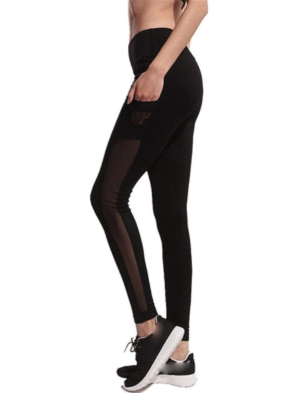 YWLINK Damen Einfarbig Mode Mesh NäHte Trainieren Gamaschen Fitness Sport Fitnessstudio Seitentasche Laufender Yoga Sportliche Hosen YWLINK-PANTS