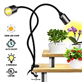 Relassy LED Grow Light for Plants - Sunlike Full Spectrum CREE COB Grow Lamp with C-Clamps - 360 Degree Dual Head Flexible Gooseneck – 5 Dimmable Lights with 3/6/12H Timer for Indoor Herb Garden