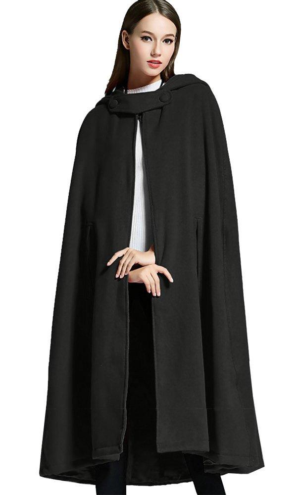 Sheicon Women Batwing Cape Wool Poncho Jacket Warm Cloak Coat with Hood (One Size, Black)