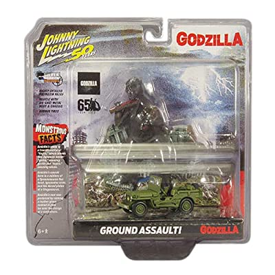 Johnny Lightning Godzilla Silver Screen Series Façade Diorama - Japan Poilce Reserve Corps. Willys MB Jeep: Toys & Games