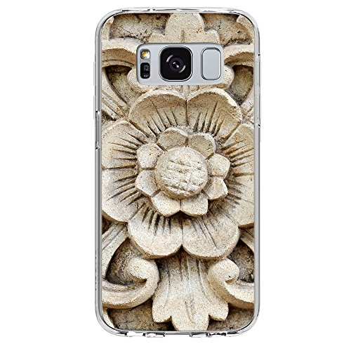 Image Of Wooden Wood Flower Carving in White Samsung Galaxy S8 Plus Clear Phone Case