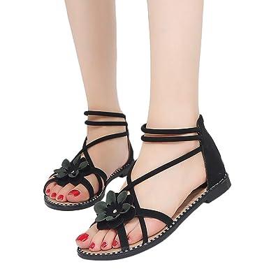 b2aedad52394d5 Baigoods Women Clip Toe Herringbone Sandals Beach Flat Shoes Ladies Summer  Flower Bandage Sandals (Black