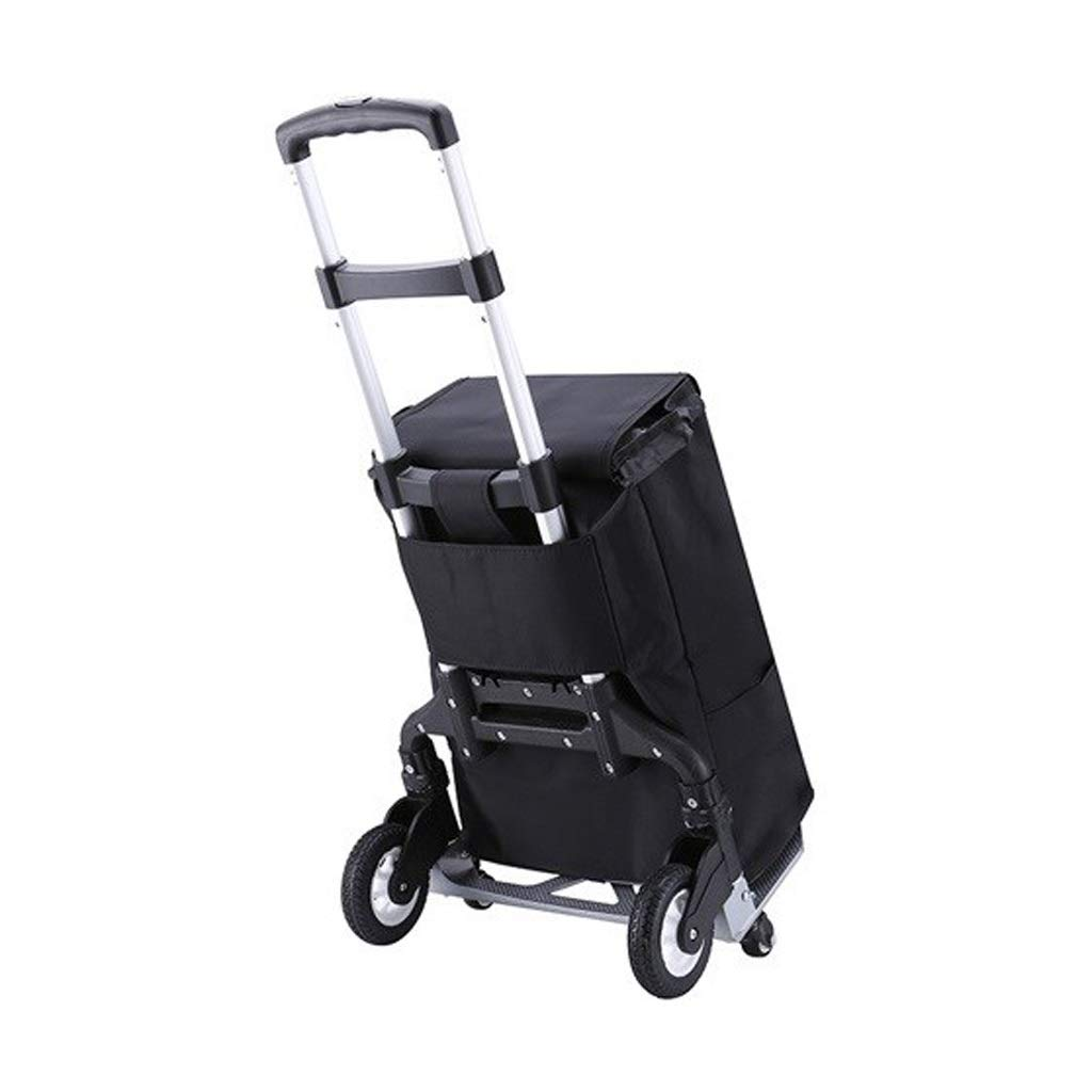 Bmwjrzd Lightweight Shopping Trolley - Multi-Functional - Foldable Bag - Adjustable Luggage Grocery Cart - Black Cloth Bag