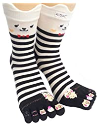 Women/Girl stripe Toe socks Funky Happy dancing pig printing cotton Long sock-black