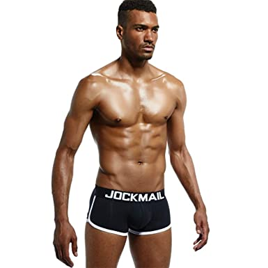 839c21c86843 Jockmail Mens Underwear Briefs Sexy Bulge Front + Back Buttocks Double  Removable Push Up Cup (