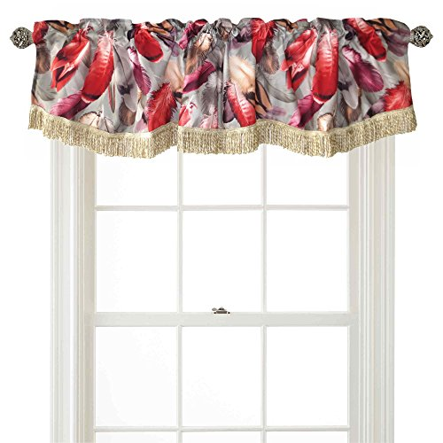 "Violet Linen Decorative Chenille Feathers Design, 60"" x 15"" Window Valance - Burgundy"