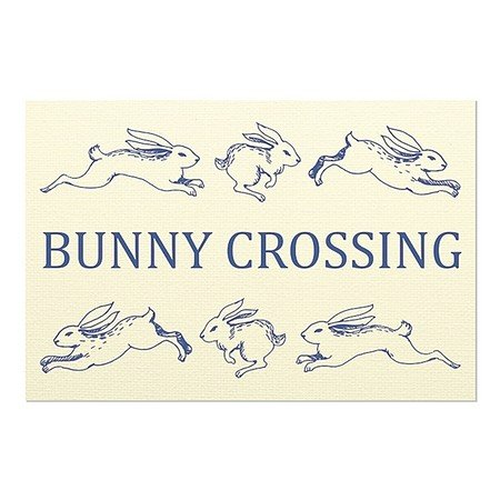 CGSignLab | ''Bunny Crossing'' Repositionable Opaque White 1st Surface Static-Cling Non-Adhesive Window Decal (5-Pack) | 30''x20'' by CGSignLab