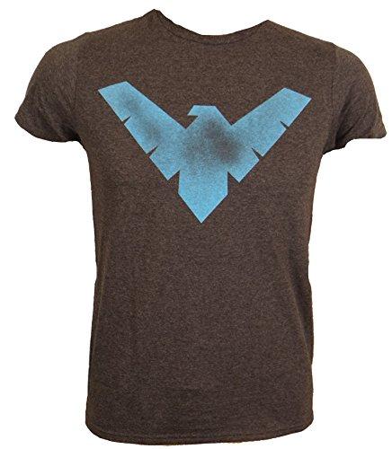 DC Comics Batman Nightwing Symbol Logo T-shirt (Extra Large,Heather Charcoal)