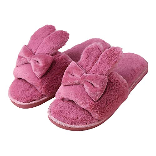 Cute Fuzzy Indoor Bunny Size House Warm Slippers Shoes Winter Kt Women Hard dr Sole x8q161
