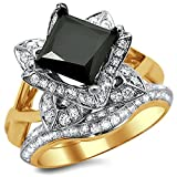 Smjewels 2.5Ct Black Princess Cut Lotus Flower CZ Diamond Engagement Ring Set Yellow Gold Fn
