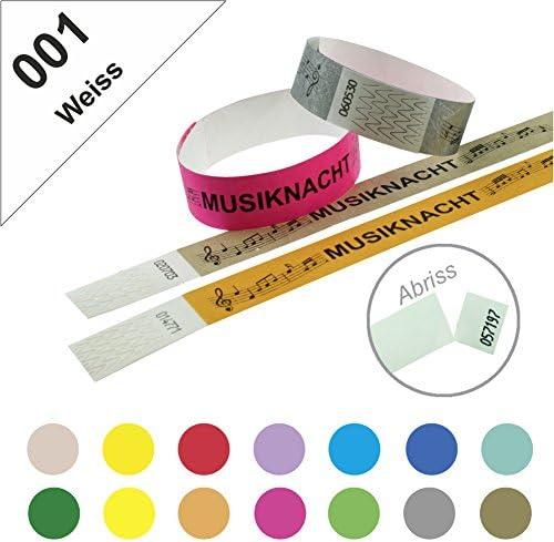 Einlassbänder, Kontrollbänder aus Tyvek – wasserfest, sicher, reißfest - 19mm, bedruckt, Motiv Musiknacht (1000 Stück Weiss)