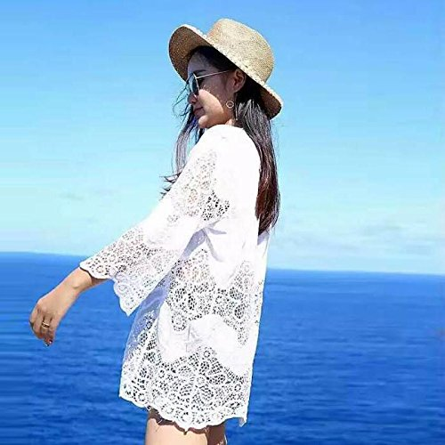 &zhou Pantalla solar de grado femenino de playa, blusa de bikini de encaje con cuello en V, traje de baño fuera del chal , one size , white White