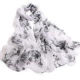 UONQD Fashion Women Peach Blossom Printing Long Soft Wrap Scarf Ladies Shawl Scarves(OneSize,C)