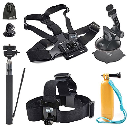 EEEKit-Accessories-Kit-for-Campark-ACT74-Action-CameraAKASO-EK7000-Head-StrapFloaty-Grip-Handle-PoleChest-HarnessCarSelfie-Stick-Monopod-Pole-Mount-��