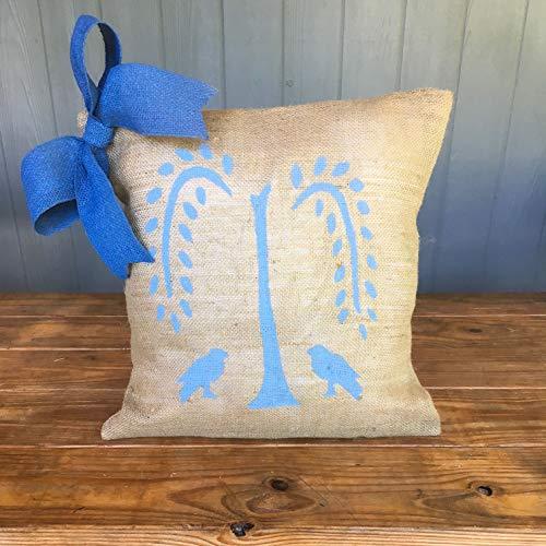 Burlap Bow Pillow, Bow Pillow, Burlap Pillow, Farmhouse Decor, Throw Pillow, Porch Pillow, Willow Tree Pillow, Colonial Decor, Home Decor