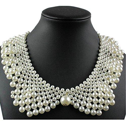 Joyci Women Chic Faux Pearl Necklace Peter Pan Collar Apparel DIY Craft Supply