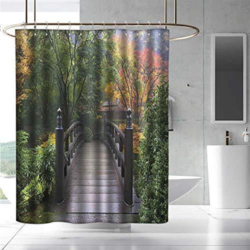 - EwaskyOnline Bathroom Curtains Nature Wooden Bridge at Portland Japanese Garden Oregon in Foggy Autumnal Morning Park for Master, Kid's, Guest Bathroom W72 x L84 Green Coral