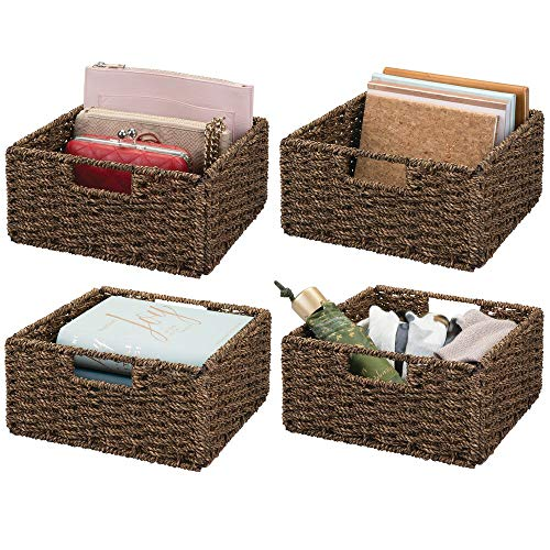 mDesign Natural Woven Seagrass Closet Storage Organizer Basket Bin - Collapsible - for Cube Furniture Shelving in Closet, Bedroom, Bathroom, Entryway, Office - 5.25