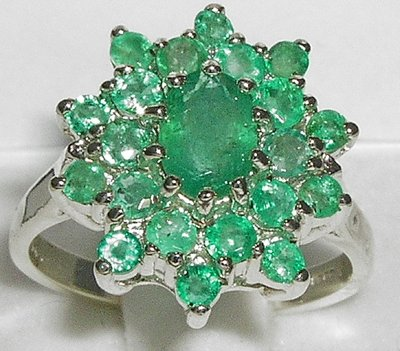 925 Sterling Silver Real Genuine Emerald Womens Band Ring