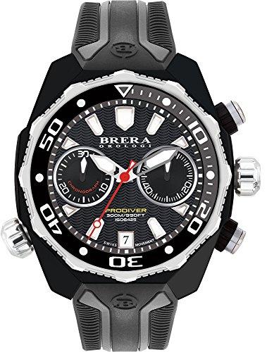 Brera Orologi Men's ProDiver Blk, S/S Bezel, Blk Dial, Blk & Gray Strap BRDV2C4706