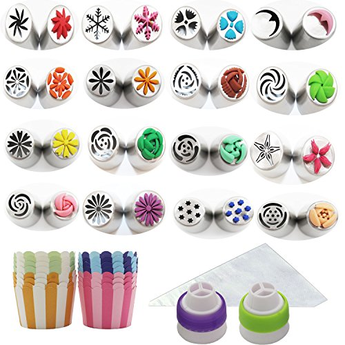 Jumbo Set of 64 - 16 New Designs Russian Icing Piping Tips Kits for Cake Decoration and Free 16 Disposable Non-stick Paper Cupcake Cups +30 Large size Icing Pastry Bags & 2 Three Colors (Cupcake Decorating Halloween Tip)