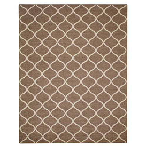 Maples Rugs Rebecca 7 x 10 Large Area Rugs [Made in USA] for Living, Bedroom, and Dining Room, Cafe Brown/White