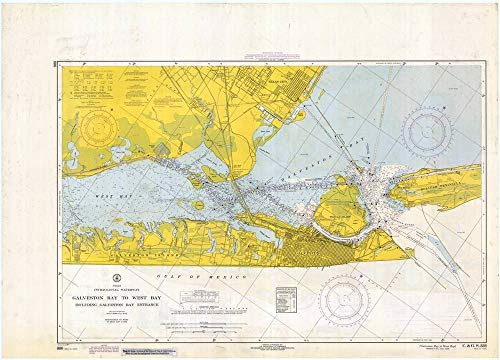 Vintography Professionally Reprinted 8 x 12 Image of 1967 Nautical Chart Galveston Bay to West Bay by C&GS TX