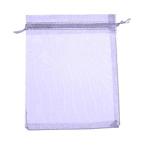 Bolsa pequeña de organza Amesii para joyas, regalos de boda, dulces, 50 unidades 9cm by 12cm Light Purple