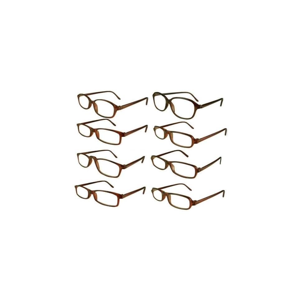 Reading Glasses Wholesale 8 Pair Brown Plastic Reader Men Women 2.50