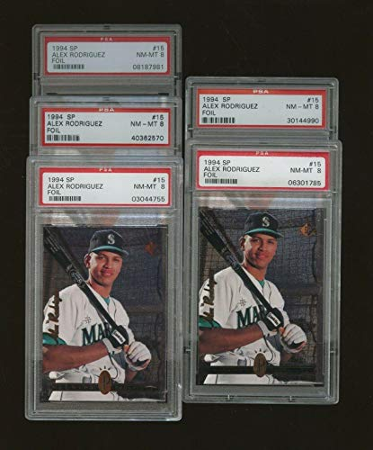 Lot (5) 1994 SP Foil #15 Alex Rodriguez Mariners RC Rookie All 8 NM-MT - PSA/DNA Certified - Baseball Slabbed Rookie Cards