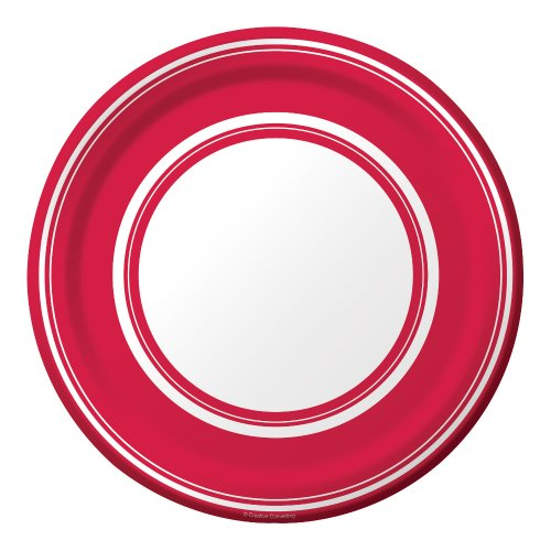 Creative Converting Coordinates Collection 8 Count Round Paper Dessert Plates, Classic Red Stripe