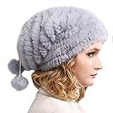 FURTALK Real Knitted Mink Fur Hat Women Winter Fur Hats Slouchy mink fur hats for women (Grey Blue)