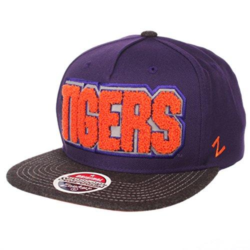 Zephyr NCAA Clemson Tigers Men's Jock Snapback Hat, Adjustable, Gray/Team Color