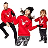 Christmas Family Matching Tops Cute Reindeer Sweatshirt Long Sleeve Girl Crew Neck Pullover Best Xmas Present Ever Red