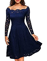 Womens Vintage Floral Lace Boat Neck Cocktail Formal Swing Dress