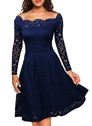 MissMay Women's Vintage Floral Lace Long Sleeve Boat Neck Cocktail Formal Swing Dress Navy Blue X-Small