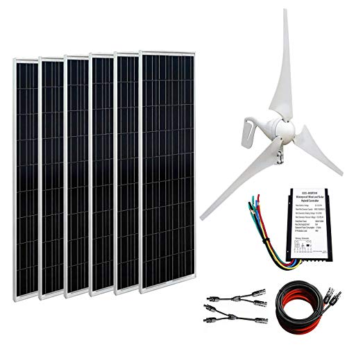 - ECO-WORTHY 24V 1KW Wind Solar Power: 1pc 12V/24V 400W Wind Turbine Generator + 6pcs 100 Watt Polycrystalline Solar Panel + Y Branch MC4 Connectors + 1 Pair 16ft Solar Cable Adapter