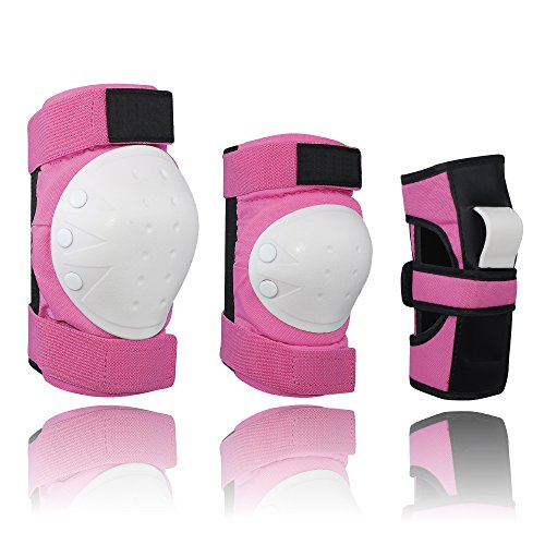 Kiwivalley 6 in 1 Adult&Kids Knee Pads Elbow Pads Wrist Guards,Protective Gear Set For Multi Sports Skateboarding Inline Roller Skating Cycling Biking BMX Bicycle Scooter (S/M/L) (Pink, L)