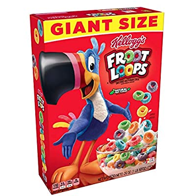 Froot Loops Kellogg's, Breakfast Cereal, Original, Good Source of Fiber, Giant Size, 26 oz Box